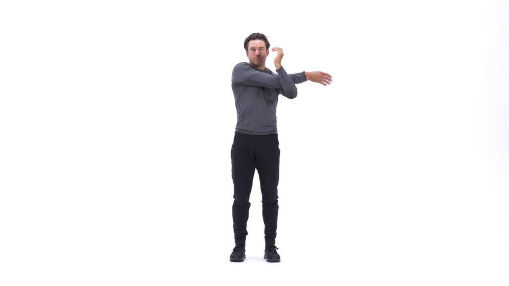 stretching each shoulder